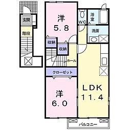 鹿児島県指宿市十二町の賃貸アパートの間取り