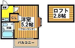 東京都杉並区浜田山4の賃貸アパートの間取り