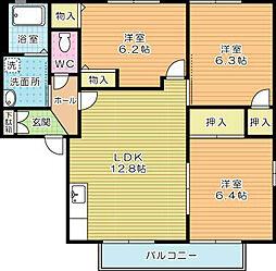 コモンシティ志井II E棟[202号室]の間取り