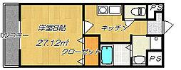 大阪府四條畷市岡山東1丁目の賃貸マンションの間取り