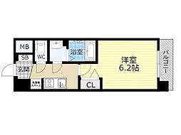 プレサンスOSAKA三国ネオス 9階1Kの間取り
