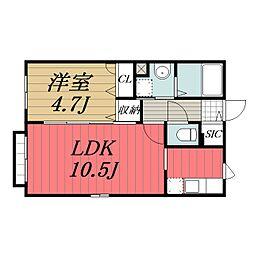 JR総武線 新検見川駅 徒歩5分の賃貸アパート 2階1LDKの間取り