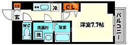 エグゼ堺筋本町 14階1Kの間取り
