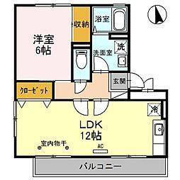 燦コーポA[3階]の間取り