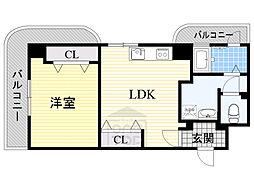 大和シャレー 4階1LDKの間取り