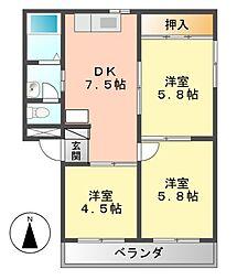 愛知県名古屋市中村区靖国町2丁目の賃貸マンションの間取り