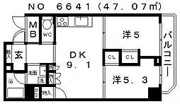 JINEVER(ジンエヴァー)上本町[8階]の間取り
