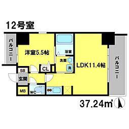 S-RESIDENCE江坂Eminence 4階1LDKの間取り