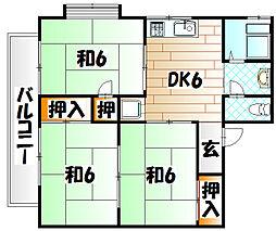 福岡県北九州市八幡東区八王寺町の賃貸アパートの間取り