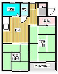 ハイツ田中[1階]の間取り