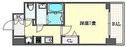 レオンコンフォート大阪ドームシティ 9階1Kの間取り