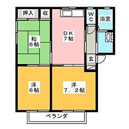 ラフォーレ藤崎 A棟[2階]の間取り