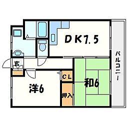 兵庫県西宮市樋ノ口町2丁目の賃貸マンションの間取り