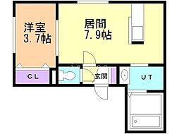 Comfort 2階1DKの間取り
