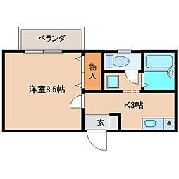 近鉄奈良線 学園前駅 徒歩13分の賃貸アパート 2階1Kの間取り