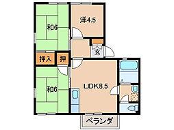 和歌山県岩出市高塚の賃貸アパートの間取り