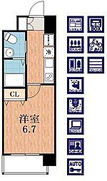 Osaka Metro御堂筋線 西田辺駅 徒歩2分の賃貸マンション 8階1Kの間取り