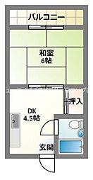 京阪本線 萱島駅 徒歩8分の賃貸マンション 3階1DKの間取り