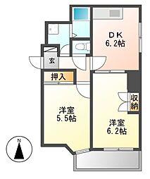 レジデンシア東別院(第7協和ビル)[5階]の間取り