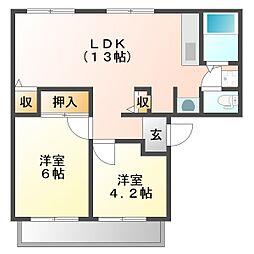 サンライフ雅B206[2階]の間取り