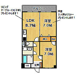 リラ姫里[2階]の間取り