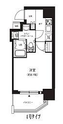 Osaka Metro中央線 堺筋本町駅 徒歩4分の賃貸マンション 11階1Kの間取り