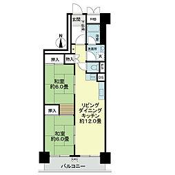 ライオンズマンション第2江坂[4階]の間取り