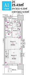 ガーラ・パークサイド木場 7階2Kの間取り