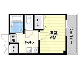 阪急千里線 南千里駅 徒歩25分の賃貸マンション 3階1Kの間取り