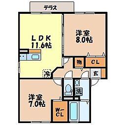 長崎県諫早市多良見町市布の賃貸アパートの間取り