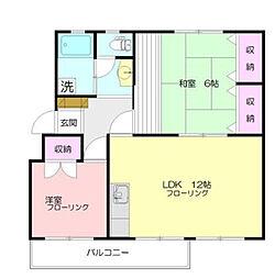 神奈川県横浜市都筑区川和町の賃貸マンションの間取り