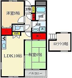 グリーンコートマンション 3階2LDKの間取り