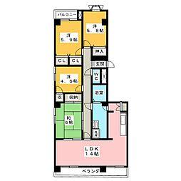 日宝プロシード上杉東[3階]の間取り