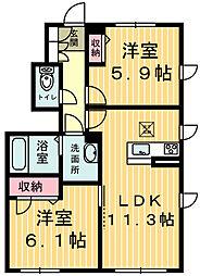 エルヴァージュA棟[1階]の間取り
