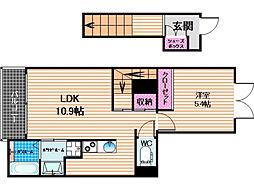 クレア 3階1LDKの間取り