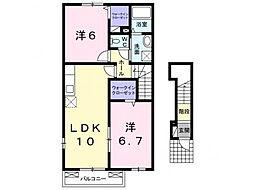 茨城県筑西市海老ヶ島の賃貸アパートの間取り