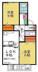 群馬県高崎市上中居町の賃貸アパートの間取り