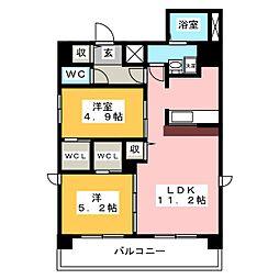Z・R東別院 8階2LDKの間取り