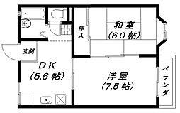 メゾンドール1号館[2階]の間取り