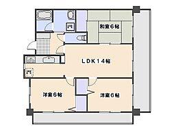 広島県広島市西区井口5丁目の賃貸マンションの間取り