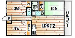福岡県北九州市八幡西区御開2丁目の賃貸マンションの間取り