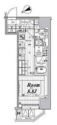 メイクスデザイン芝公園 9階ワンルームの間取り