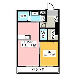 (仮)シャーメゾン牟呂公文町 1階1LDKの間取り
