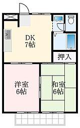 南海高野線 北野田駅 徒歩5分の賃貸アパート 2階2DKの間取り