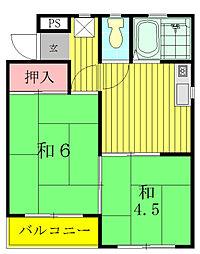 千葉県流山市江戸川台西3の賃貸アパートの間取り
