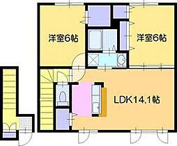 北海道岩見沢市南町八条3丁目の賃貸アパートの間取り