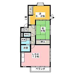 YFハイツB[2階]の間取り