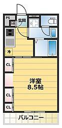 HANATEN EAST[2階]の間取り