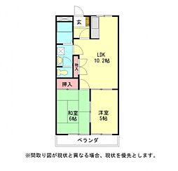 愛知県一宮市今伊勢町本神戸字立切東の賃貸アパートの間取り