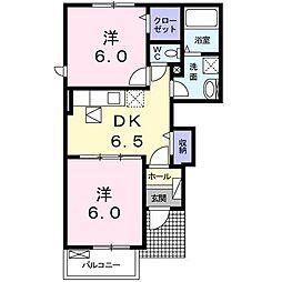 東京都調布市深大寺北町2丁目の賃貸アパートの間取り